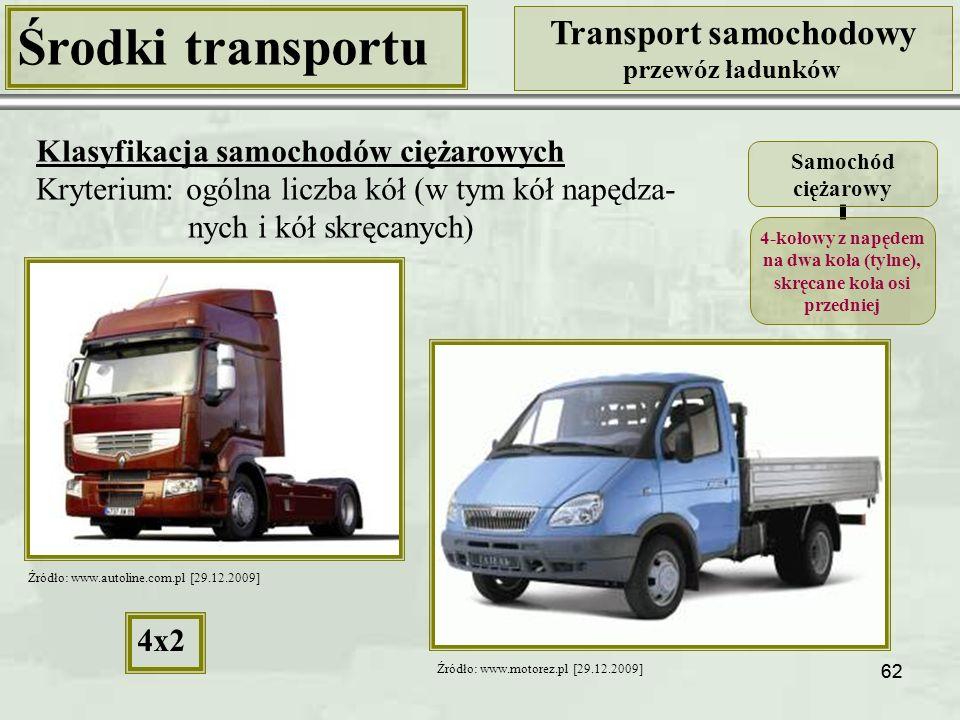 62 Środki transportu Transport samochodowy przewóz ładunków Klasyfikacja samochodów ciężarowych Kryterium: ogólna liczba kół (w tym kół napędza- nych i kół skręcanych) Samochód ciężarowy 4-kołowy z napędem na dwa koła (tylne), skręcane koła osi przedniej 4x2 Źródło: www.autoline.com.pl [29.12.2009] Źródło: www.motorez.pl [29.12.2009]