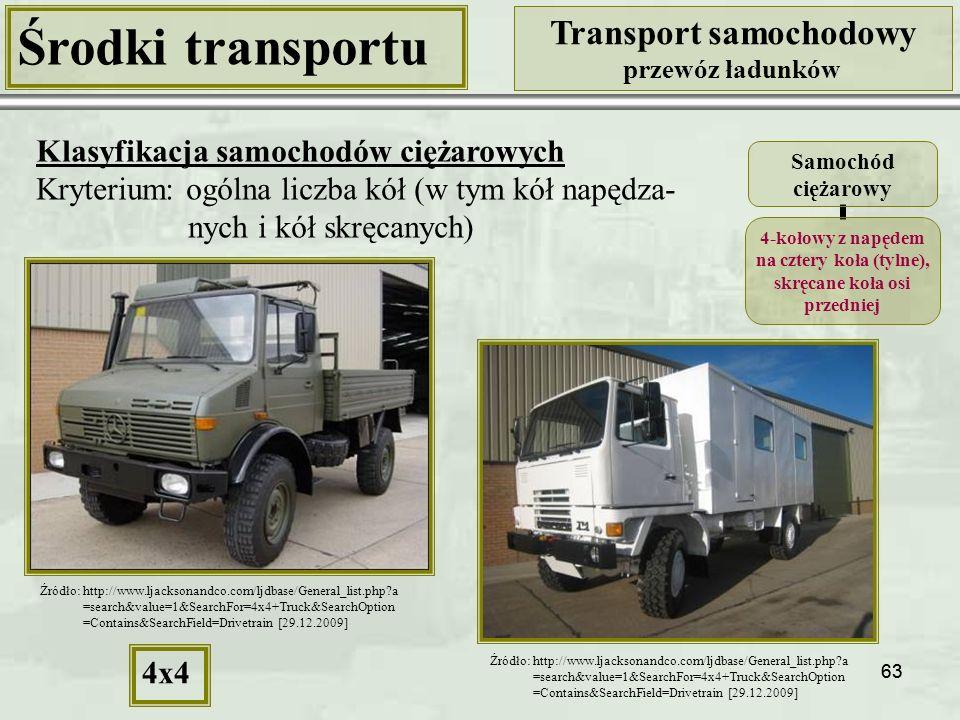 63 Środki transportu Transport samochodowy przewóz ładunków Klasyfikacja samochodów ciężarowych Kryterium: ogólna liczba kół (w tym kół napędza- nych i kół skręcanych) Samochód ciężarowy 4-kołowy z napędem na cztery koła (tylne), skręcane koła osi przedniej 4x4 Źródło: http://www.ljacksonandco.com/ljdbase/General_list.php?a =search&value=1&SearchFor=4x4+Truck&SearchOption =Contains&SearchField=Drivetrain [29.12.2009] Źródło: http://www.ljacksonandco.com/ljdbase/General_list.php?a =search&value=1&SearchFor=4x4+Truck&SearchOption =Contains&SearchField=Drivetrain [29.12.2009]