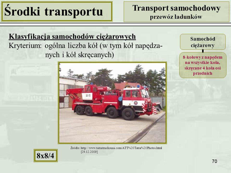 70 Środki transportu Transport samochodowy przewóz ładunków Klasyfikacja samochodów ciężarowych Kryterium: ogólna liczba kół (w tym kół napędza- nych i kół skręcanych) Samochód ciężarowy 8-kołowy z napędem na wszystkie koła, skręcane 4 koła osi przednich 8x8/4 Źródło: http://www.tatratrucksusa.com/ATT%20Tatra%20Photos.html [29.12.2009]