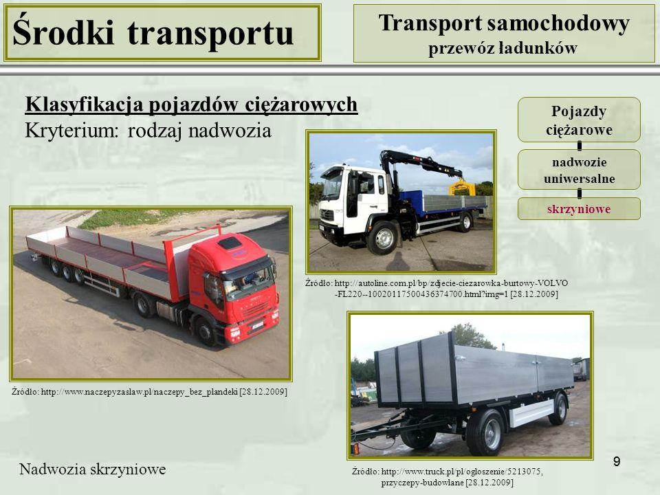10 Środki transportu Transport samochodowy przewóz ładunków Klasyfikacja pojazdów ciężarowych Kryterium: rodzaj nadwozia Pojazdy ciężarowe nadwozie uniwersalne skrzyniowe z opończą Źródło: http://www.plandex.pl [28.12.2009] Źródło: http://www.naczepyzaslaw.pl/ naczepy_plandekowe [28.12.2009] Nadwozia skrzyniowe z opończą (plandeką)