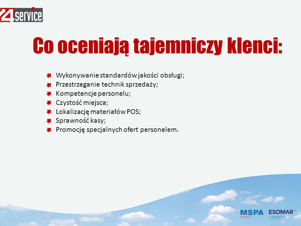 Wykonywanie standardów jakości obsługi; Przestrzeganie technik sprzedaży; Kompetencje personelu; Czystość miejsca; Lokalizację materiałów РОS; Sprawność kasy; Promocję specjalnych ofert personelem.