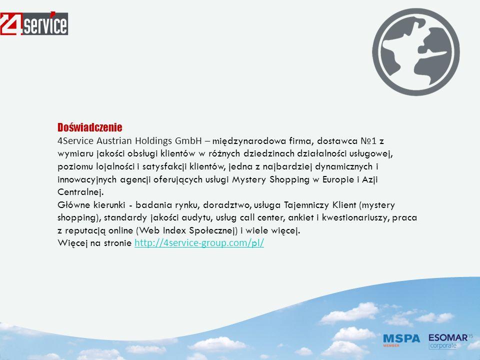 Doświadczenie 4Service Austrian Holdings GmbH – międzynarodowa firma, dostawca № 1 z wymiaru jakości obsługi klientów w różnych dziedzinach działalności usługowej, poziomu lojalności i satysfakcji klientów, jedna z najbardziej dynamicznych i innowacyjnych agencji oferujących usługi Mystery Shopping w Europie i Azji Centralnej.