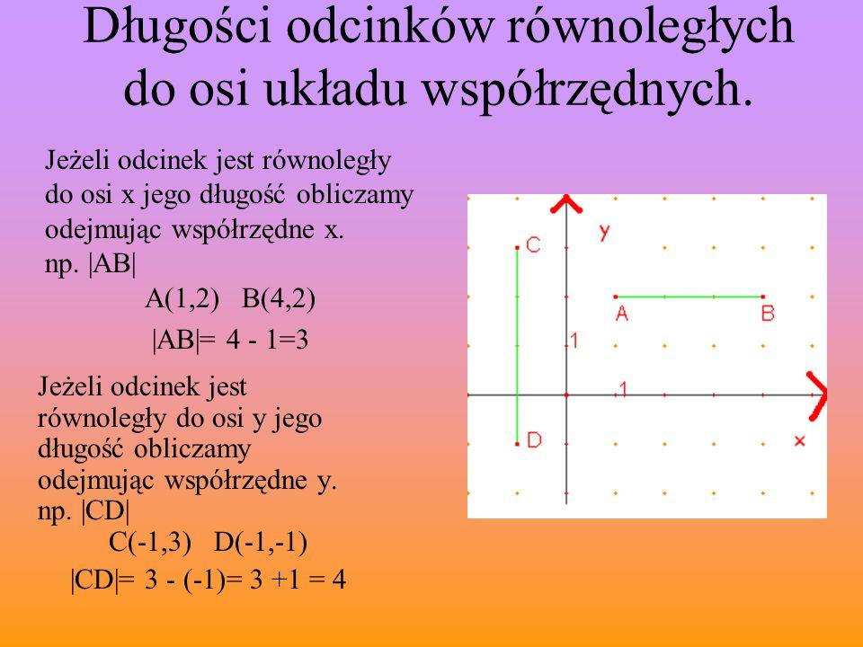Długości odcinków równoległych do osi układu współrzędnych. Jeżeli odcinek jest równoległy do osi x jego długość obliczamy odejmując współrzędne x. np