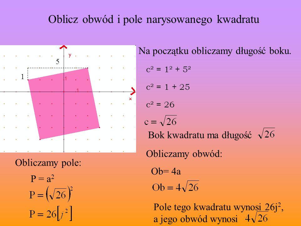 Oblicz obwód i pole narysowanego kwadratu Na początku obliczamy długość boku. 1 5 c² = 1² + 5² c² = 1 + 25 c² = 26 Bok kwadratu ma długość Obliczamy p