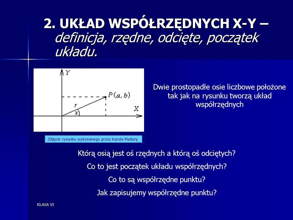 KLASA VI 2. UKŁAD WSPÓŁRZĘDNYCH X-Y – definicja, rzędne, odcięte, początek układu.