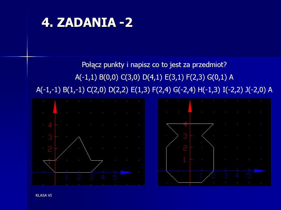 KLASA VI 4.ZADANIA -3 A)W układzie współrzędnych zaznacz pkt A(2,3).