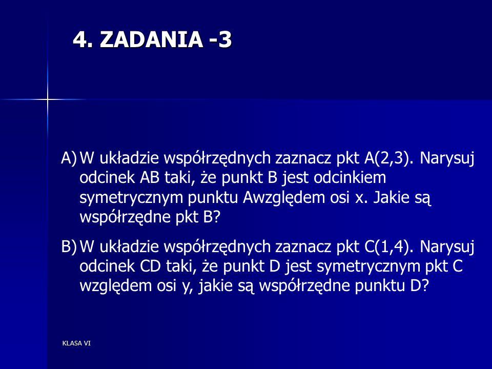 KLASA VI 4. ZADANIA -3 A)W układzie współrzędnych zaznacz pkt A(2,3).
