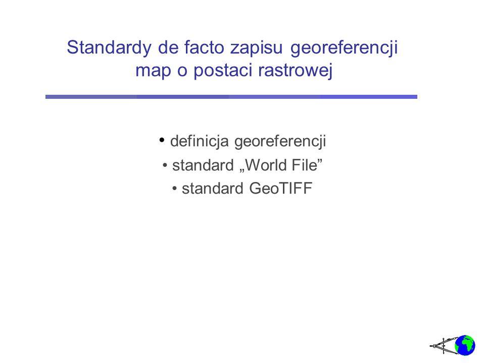 (1) Jest to zbiór danych umożliwiających transformację współrzędnych wyrażonych w układzie pikselowym do układu prostokątnego płaskiego (2) Jest to zbiór danych umożliwiających transformację współrzędnych wyrażonych w układzie pikselowym do układu współrzędnych geodezyjnych elipsoidalnych oraz do dowolnego układu prostokątnego płaskiego Z punktu widzenia rodzajów danych w GIS georeferencje są metadanymi Georeferencje mapy rastrowej - definicje