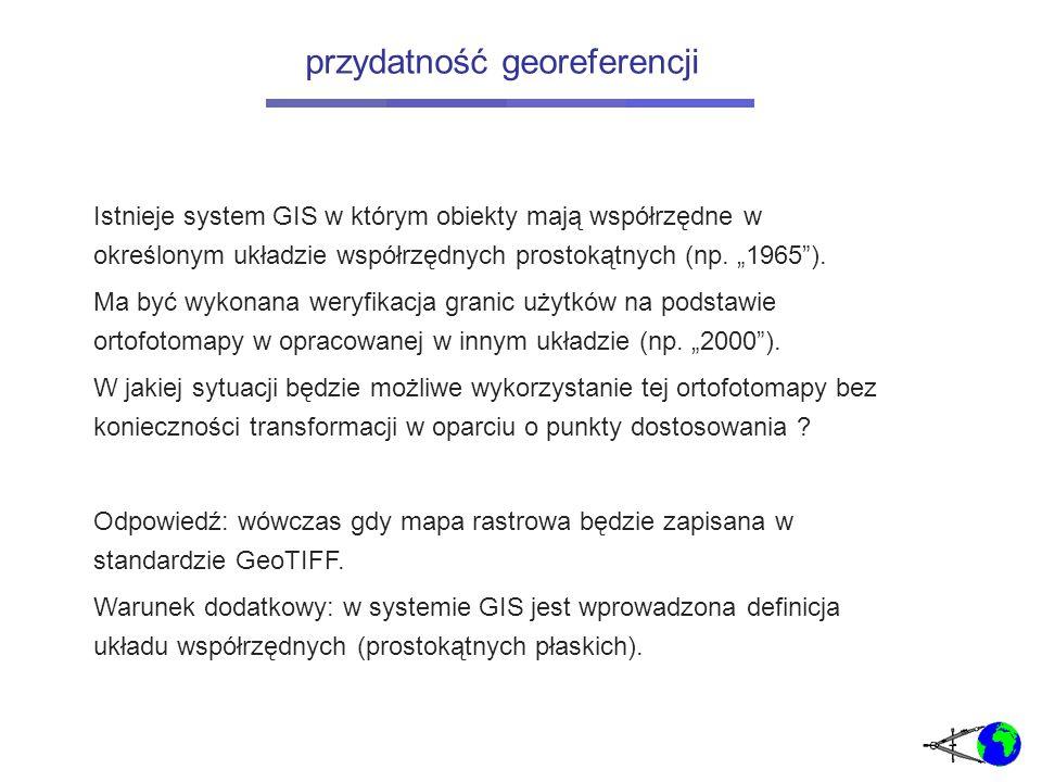 Istnieje system GIS w którym obiekty mają współrzędne w określonym układzie współrzędnych prostokątnych (np.
