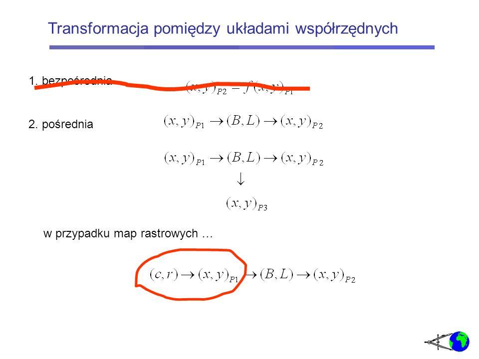 Mapa rastrowa posiada swój układ pikselowy (CR), wynikający z organizacji zapisu w wiersze (r) i kolumny (c); a) gdy mapa rastrowa była opracowana w układzie (XY) to: osie układu (CR) są równoległe do osi (XY) b) gdy użytkujemy mapę z układu (XY) P1 w układzie (XY) P2 to: osie układu (CR) nie są równoległe do osi (XY) Transformacja: układ pikselowy – układ wsp.
