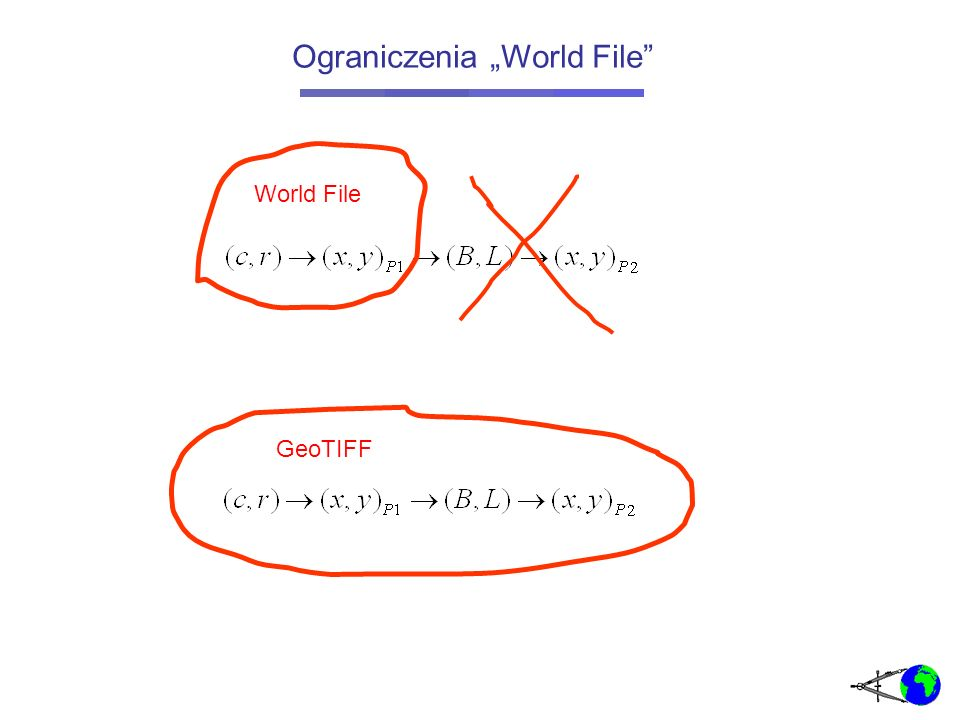 GeoTIFF to format TIFF ale z dodatkowo wpisanymi georeferencjami mapy, pozwalającymi systemowi GIS dokonać transformacji: TIFF (Tagged Image File Format) format otwarty (opublikowana specyfikacja) elastyczna struktura oparta na znacznikach (tag-ach) : określone znaki dzielą strukturę na pola w których są wpisane informacje zarówno o charakterze metadanych jak i sama treść obrazu szeroki zakres bitów przenoszących informacje o pikselu: od 1 bit do 32 kilka metod kompresji możliwość zapisu kilku obrazów w jednym pliku GeoTIFF