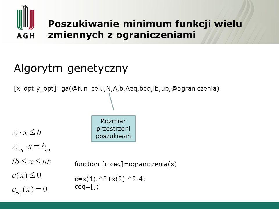 Poszukiwanie minimum funkcji wielu zmiennych z ograniczeniami Algorytm genetyczny [x_opt y_opt]=ga(@fun_celu,N,A,b,Aeq,beq,lb,ub,@ograniczenia) Rozmiar przestrzeni poszukiwań function [c ceq]=ograniczenia(x) c=x(1).^2+x(2).^2-4; ceq=[];