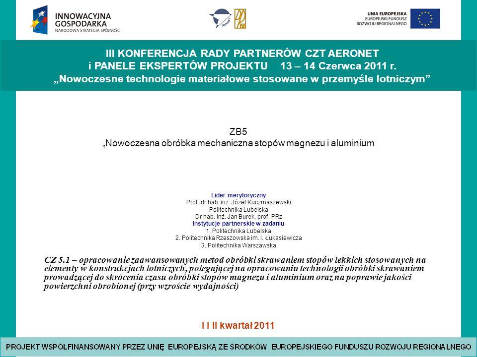 I i II kwartał 2011 III KONFERENCJA RADY PARTNERÓW CZT AERONET i PANELE EKSPERTÓW PROJEKTU 13 – 14 Czerwca 2011 r.