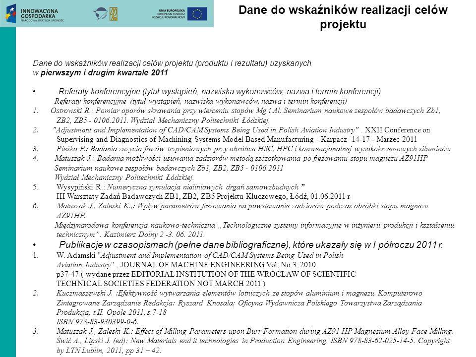 Wskaźniki Prace inżynierskie obronione w 2011 roku dr hab.