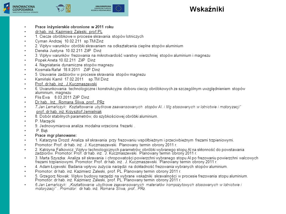 Wskaźniki Planowane rozprawy habilitacyjne: dr inż.