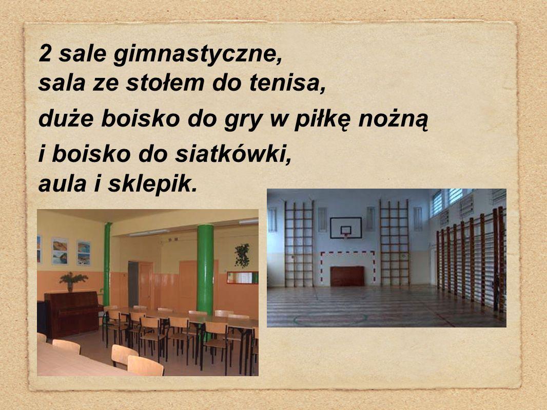 2 sale gimnastyczne, sala ze stołem do tenisa, duże boisko do gry w piłkę nożną i boisko do siatkówki, aula i sklepik.