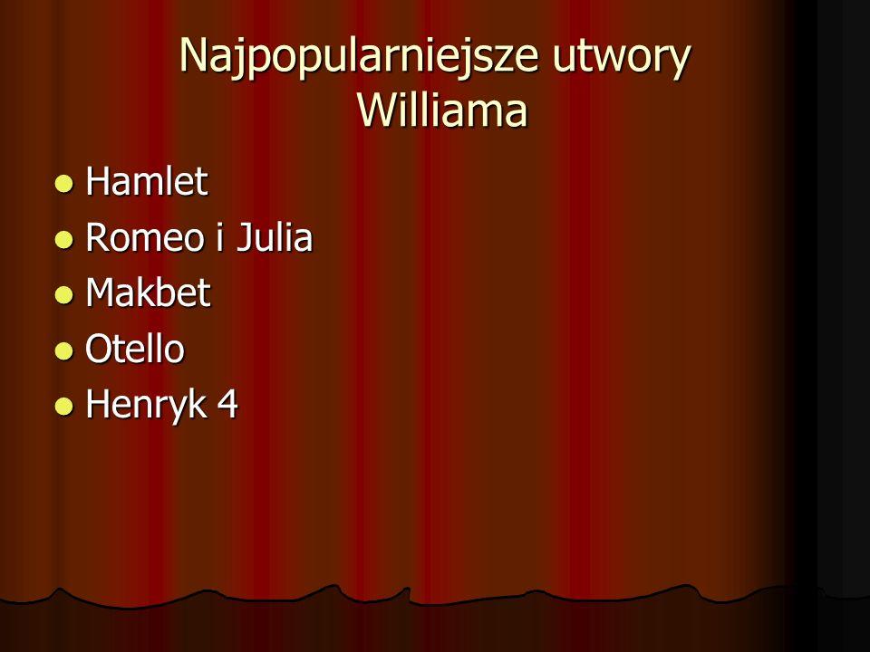 Najpopularniejsze utwory Williama Hamlet Hamlet Romeo i Julia Romeo i Julia Makbet Makbet Otello Otello Henryk 4 Henryk 4