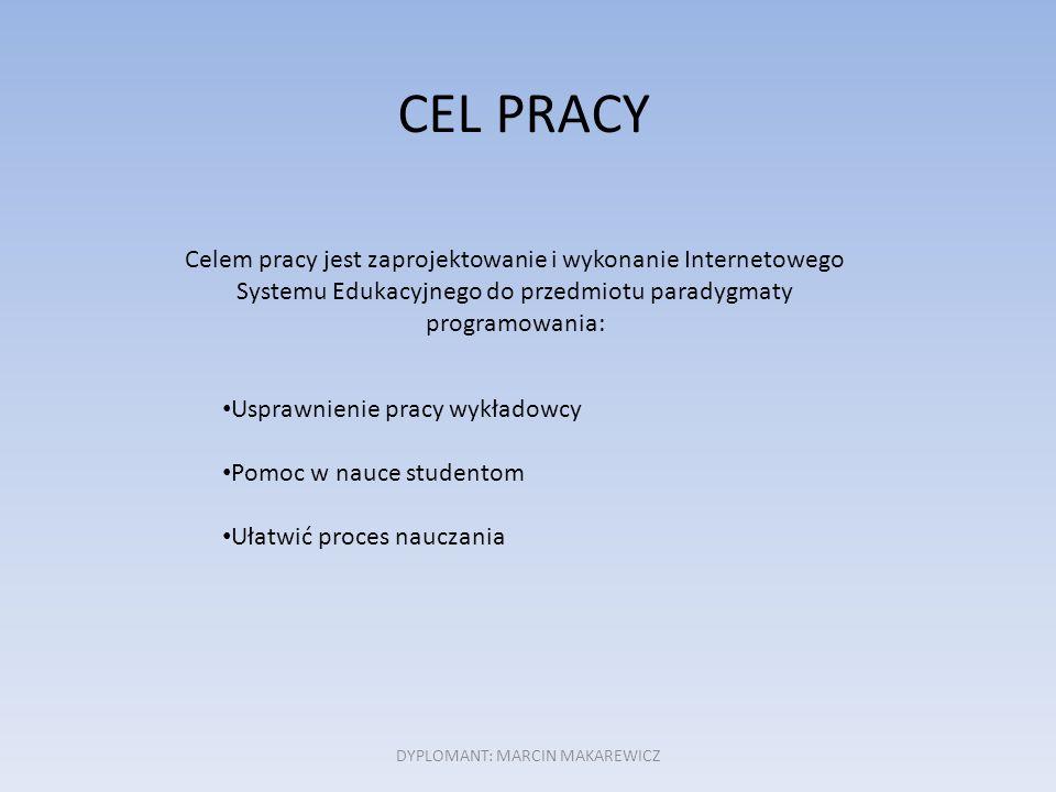CEL PRACY Celem pracy jest zaprojektowanie i wykonanie Internetowego Systemu Edukacyjnego do przedmiotu paradygmaty programowania: Usprawnienie pracy wykładowcy Pomoc w nauce studentom Ułatwić proces nauczania DYPLOMANT: MARCIN MAKAREWICZ