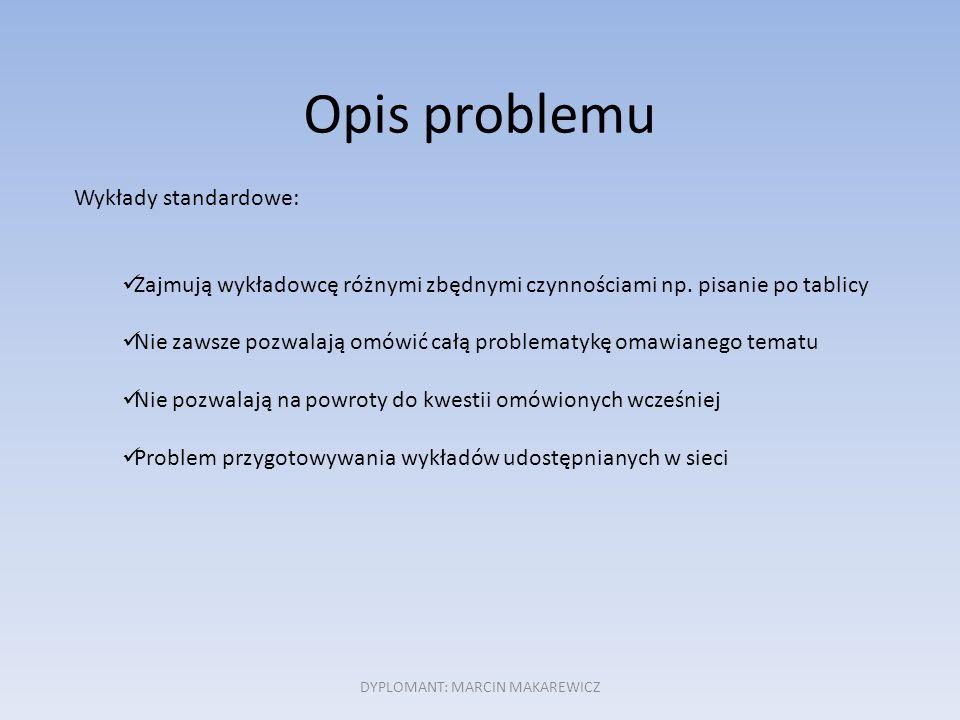 Opis problemu Wykłady standardowe: Zajmują wykładowcę różnymi zbędnymi czynnościami np.