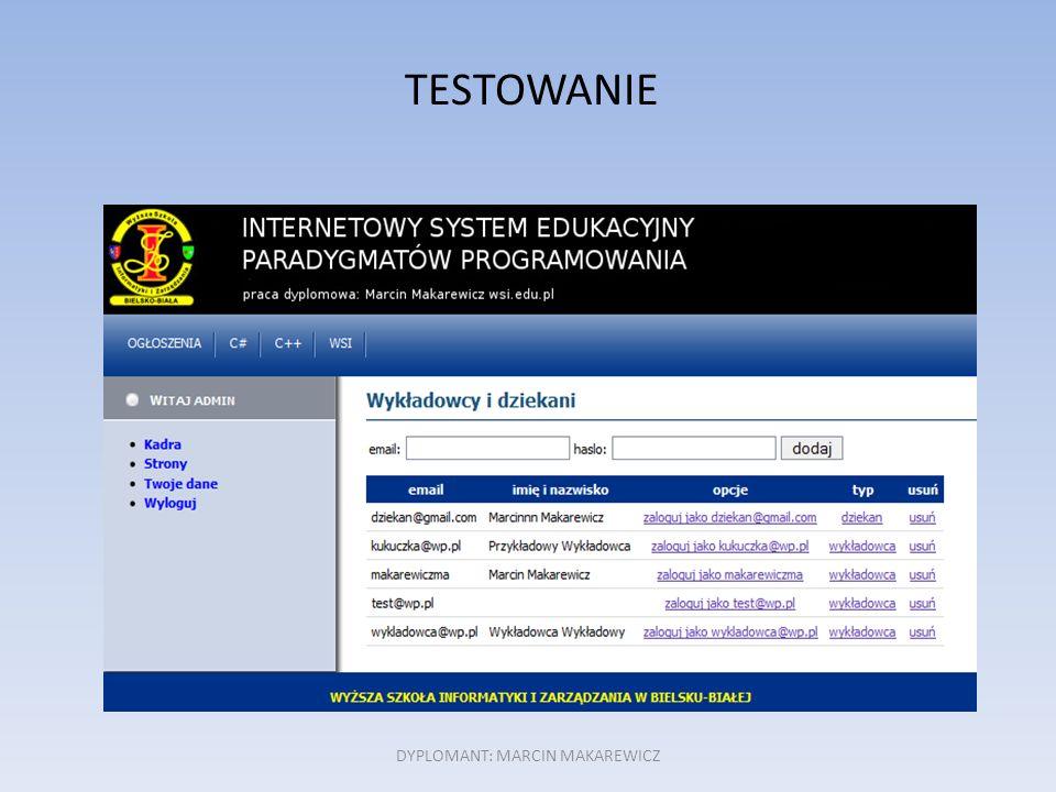 TESTOWANIE DYPLOMANT: MARCIN MAKAREWICZ
