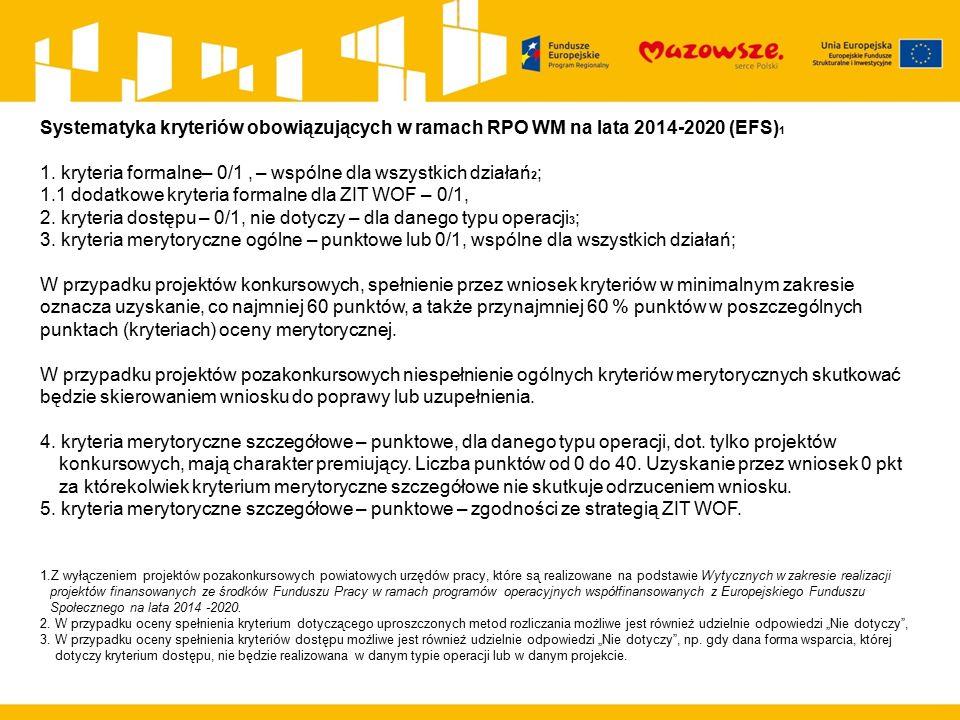 Systematyka kryteriów obowiązujących w ramach RPO WM na lata 2014-2020 (EFS) 1 1. kryteria formalne– 0/1, – wspólne dla wszystkich działań 2 ; 1.1 dod