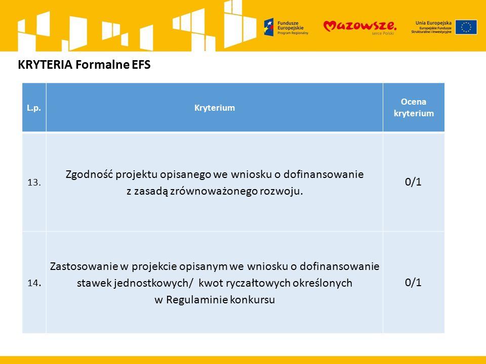 L.p.Kryterium Ocena kryterium 13. Zgodność projektu opisanego we wniosku o dofinansowanie z zasadą zrównoważonego rozwoju. 0/1 14. Zastosowanie w proj