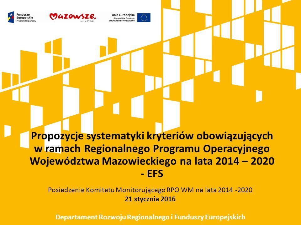 Propozycje systematyki kryteriów obowiązujących w ramach Regionalnego Programu Operacyjnego Województwa Mazowieckiego na lata 2014 – 2020 - EFS Posiedzenie Komitetu Monitorującego RPO WM na lata 2014 -2020 21 stycznia 2016 Departament Rozwoju Regionalnego i Funduszy Europejskich
