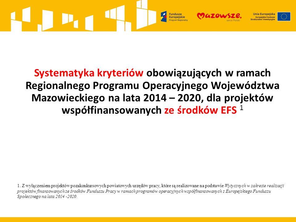 Systematyka kryteriów obowiązujących w ramach Regionalnego Programu Operacyjnego Województwa Mazowieckiego na lata 2014 – 2020, dla projektów współfinansowanych ze środków EFS 1 1.