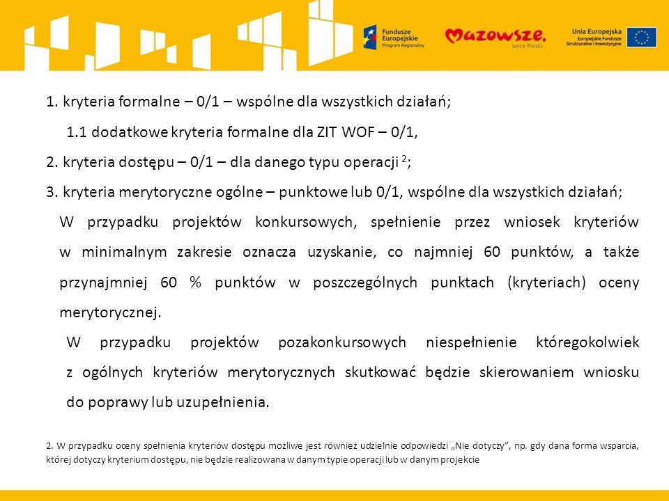 1. kryteria formalne – 0/1 – wspólne dla wszystkich działań; 1.1 dodatkowe kryteria formalne dla ZIT WOF – 0/1, 2. kryteria dostępu – 0/1 – dla danego