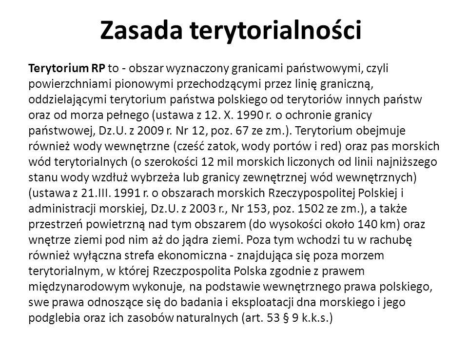 Zasada terytorialności Terytorium RP to - obszar wyznaczony granicami państwowymi, czyli powierzchniami pionowymi przechodzącymi przez linię graniczną, oddzielającymi terytorium państwa polskiego od terytoriów innych państw oraz od morza pełnego (ustawa z 12.