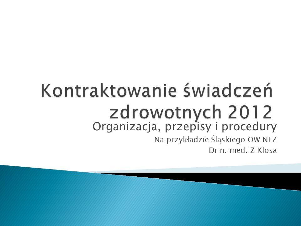 Organizacja, przepisy i procedury Na przykładzie Śląskiego OW NFZ Dr n. med. Z Klosa