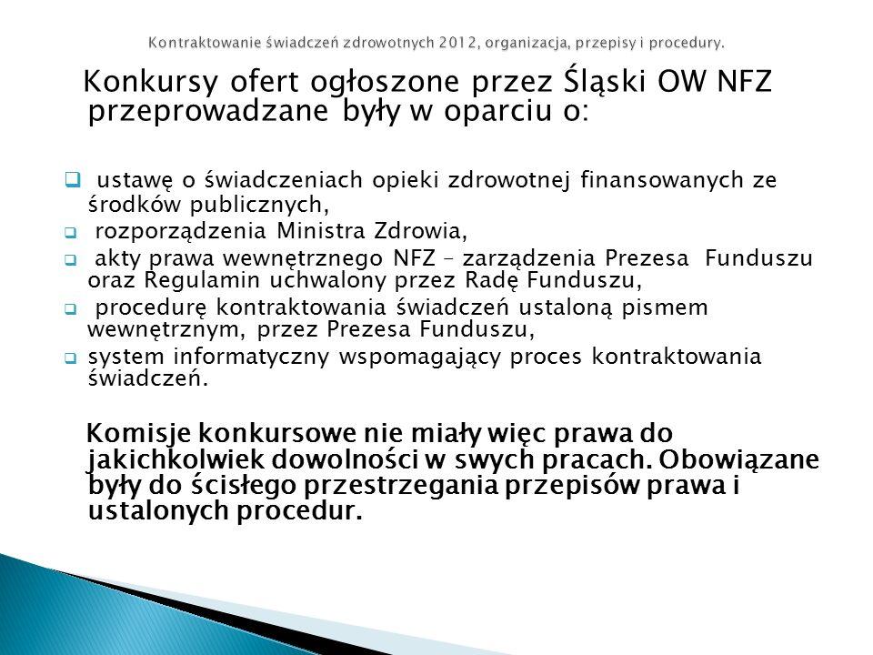 Konkursy ofert ogłoszone przez Śląski OW NFZ przeprowadzane były w oparciu o:  ustawę o świadczeniach opieki zdrowotnej finansowanych ze środków publicznych,  rozporządzenia Ministra Zdrowia,  akty prawa wewnętrznego NFZ – zarządzenia Prezesa Funduszu oraz Regulamin uchwalony przez Radę Funduszu,  procedurę kontraktowania świadczeń ustaloną pismem wewnętrznym, przez Prezesa Funduszu,  system informatyczny wspomagający proces kontraktowania świadczeń.