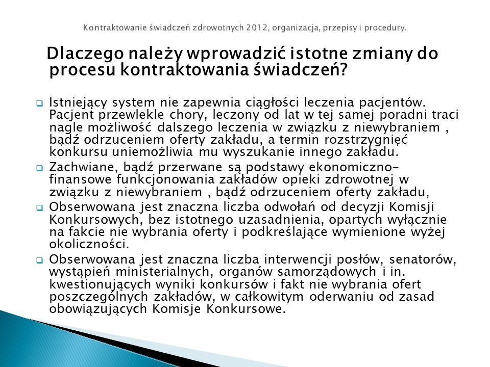 Dlaczego należy wprowadzić istotne zmiany do procesu kontraktowania świadczeń.
