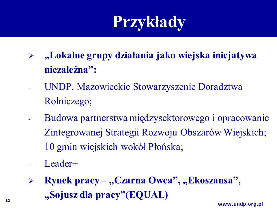 """11 www.undp.org.pl Przykłady  """"Lokalne grupy działania jako wiejska inicjatywa niezależna : - UNDP, Mazowieckie Stowarzyszenie Doradztwa Rolniczego; - Budowa partnerstwa międzysektorowego i opracowanie Zintegrowanej Strategii Rozwoju Obszarów Wiejskich; 10 gmin wiejskich wokół Płońska; - Leader+  Rynek pracy – """"Czarna Owca , """"Ekoszansa , """"Sojusz dla pracy (EQUAL)"""