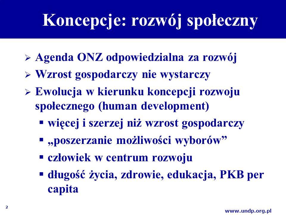 """2 www.undp.org.pl Koncepcje: rozwój społeczny  Agenda ONZ odpowiedzialna za rozwój  Wzrost gospodarczy nie wystarczy  Ewolucja w kierunku koncepcji rozwoju społecznego (human development)  więcej i szerzej niż wzrost gospodarczy  """"poszerzanie możliwości wyborów  człowiek w centrum rozwoju  długość życia, zdrowie, edukacja, PKB per capita"""