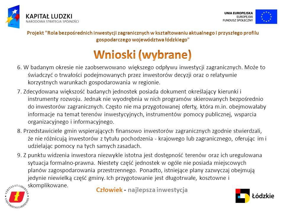 Człowiek - najlepsza inwestycja Projekt Rola bezpośrednich inwestycji zagranicznych w kształtowaniu aktualnego i przyszłego profilu gospodarczego województwa łódzkiego 6.