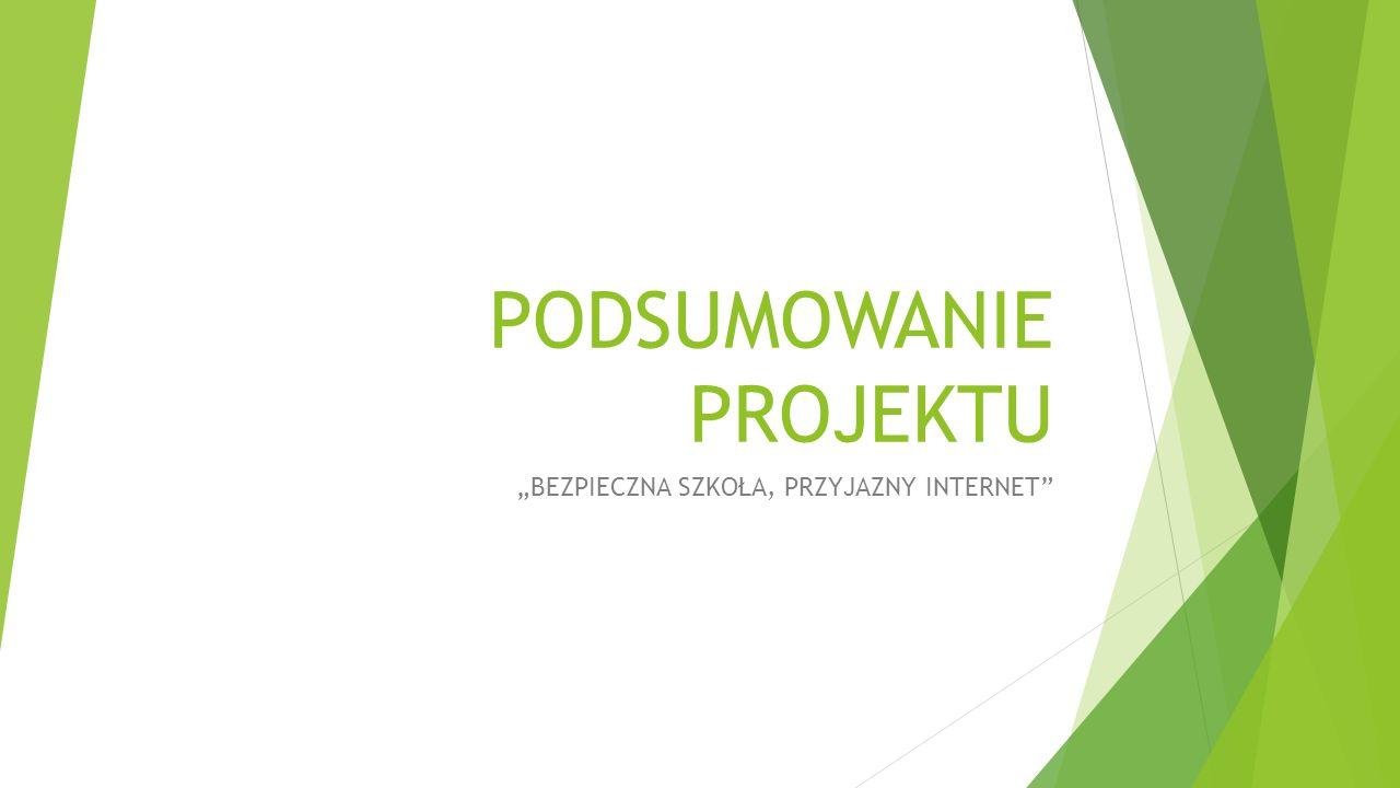 """PODSUMOWANIE PROJEKTU """"BEZPIECZNA SZKOŁA, PRZYJAZNY INTERNET"""