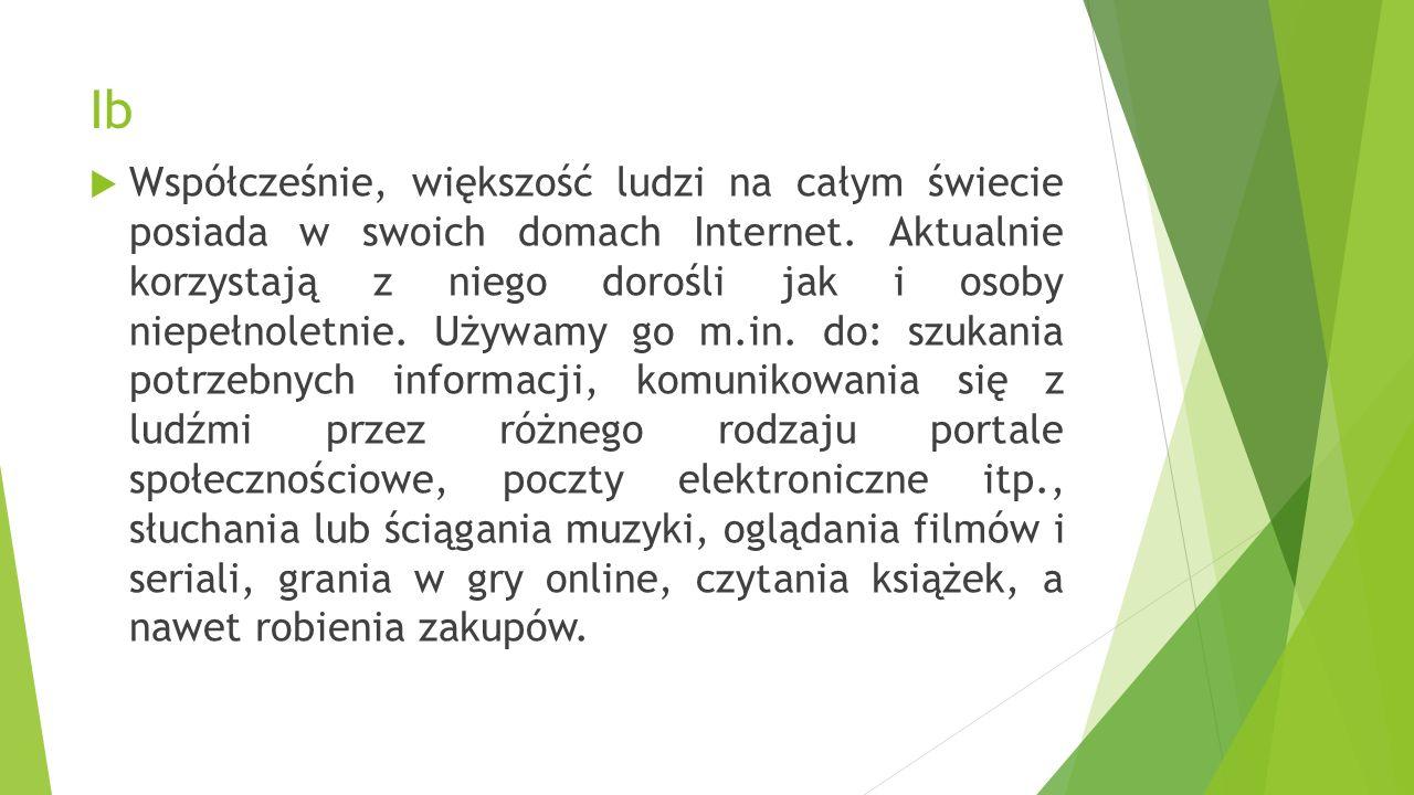 Ib  Współcześnie, większość ludzi na całym świecie posiada w swoich domach Internet.
