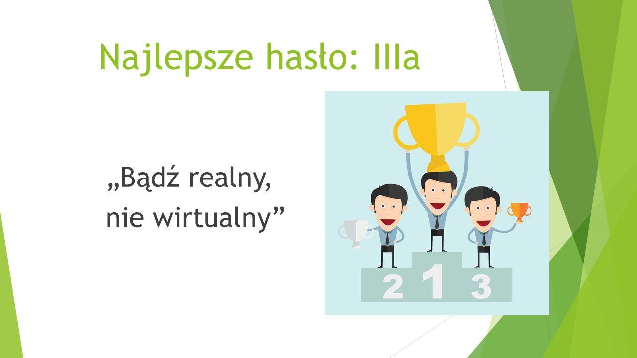 """Najlepsze hasło: IIIa """"Bądź realny, nie wirtualny"""