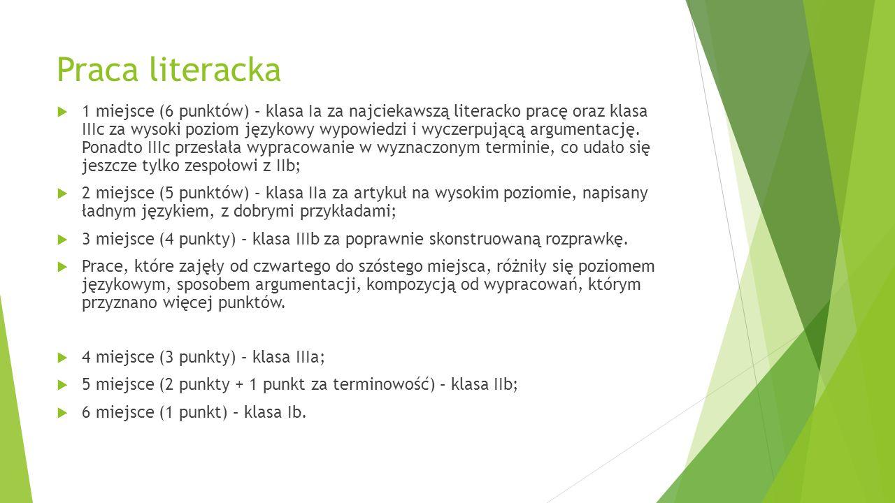 Praca literacka  1 miejsce (6 punktów) – klasa Ia za najciekawszą literacko pracę oraz klasa IIIc za wysoki poziom językowy wypowiedzi i wyczerpującą argumentację.