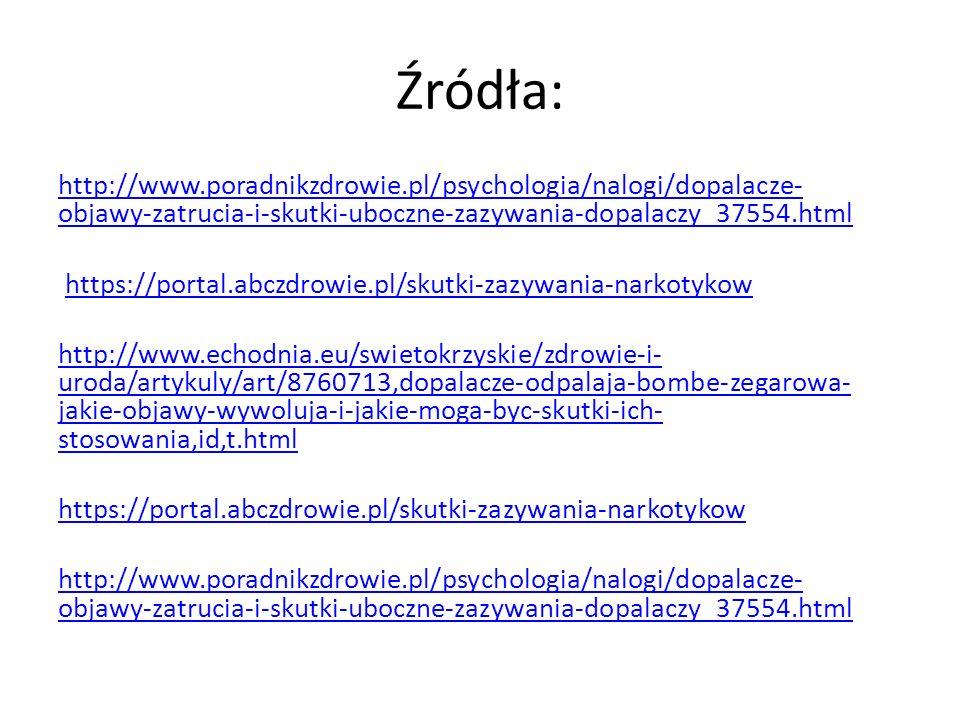 Źródła: http://www.poradnikzdrowie.pl/psychologia/nalogi/dopalacze- objawy-zatrucia-i-skutki-uboczne-zazywania-dopalaczy_37554.html https://portal.abc