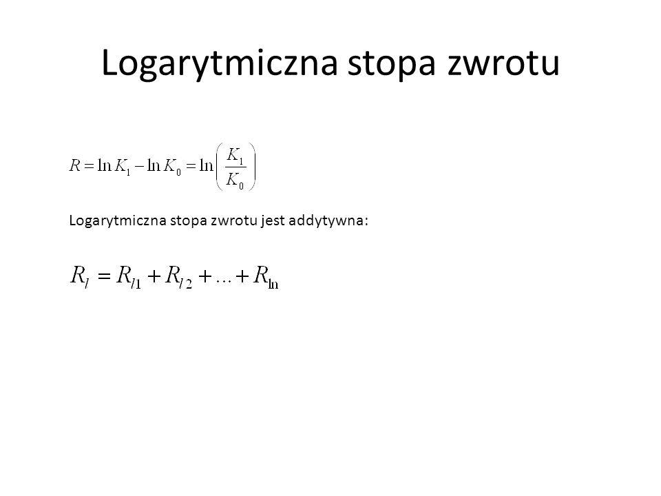 Logarytmiczna stopa zwrotu Logarytmiczna stopa zwrotu jest addytywna: