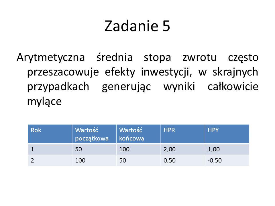 Zadanie 5 Arytmetyczna średnia stopa zwrotu często przeszacowuje efekty inwestycji, w skrajnych przypadkach generując wyniki całkowicie mylące RokWartość początkowa Wartość końcowa HPRHPY 1501002,001,00 2100500,50-0,50