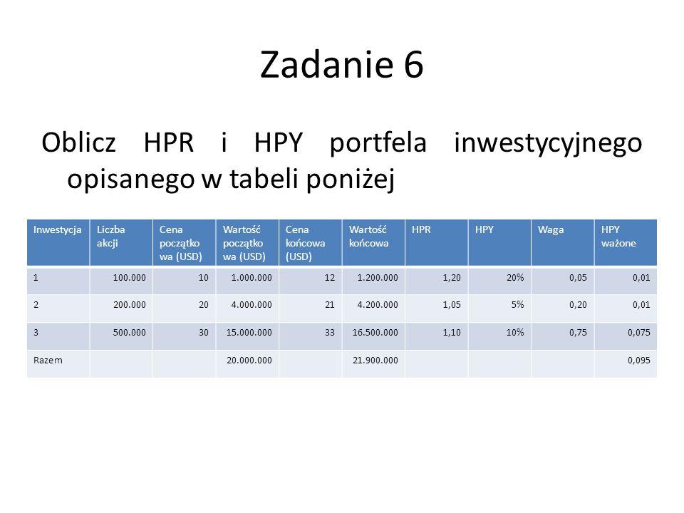 Zadanie 6 Oblicz HPR i HPY portfela inwestycyjnego opisanego w tabeli poniżej InwestycjaLiczba akcji Cena początko wa (USD) Wartość początko wa (USD) Cena końcowa (USD) Wartość końcowa HPRHPYWagaHPY ważone 1100.000101.000.000121.200.0001,2020%0,050,01 2200.000204.000.000214.200.0001,055%0,200,01 3500.0003015.000.0003316.500.0001,1010%0,750,075 Razem20.000.00021.900.0000,095