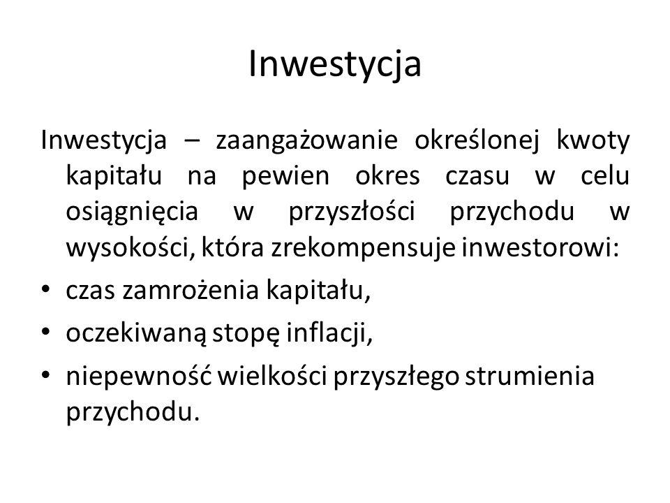 Inwestycja Inwestycja – zaangażowanie określonej kwoty kapitału na pewien okres czasu w celu osiągnięcia w przyszłości przychodu w wysokości, która zrekompensuje inwestorowi: czas zamrożenia kapitału, oczekiwaną stopę inflacji, niepewność wielkości przyszłego strumienia przychodu.