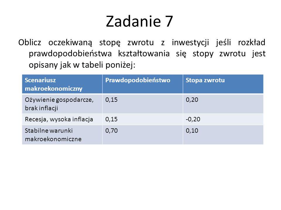 Zadanie 7 Oblicz oczekiwaną stopę zwrotu z inwestycji jeśli rozkład prawdopodobieństwa kształtowania się stopy zwrotu jest opisany jak w tabeli poniże