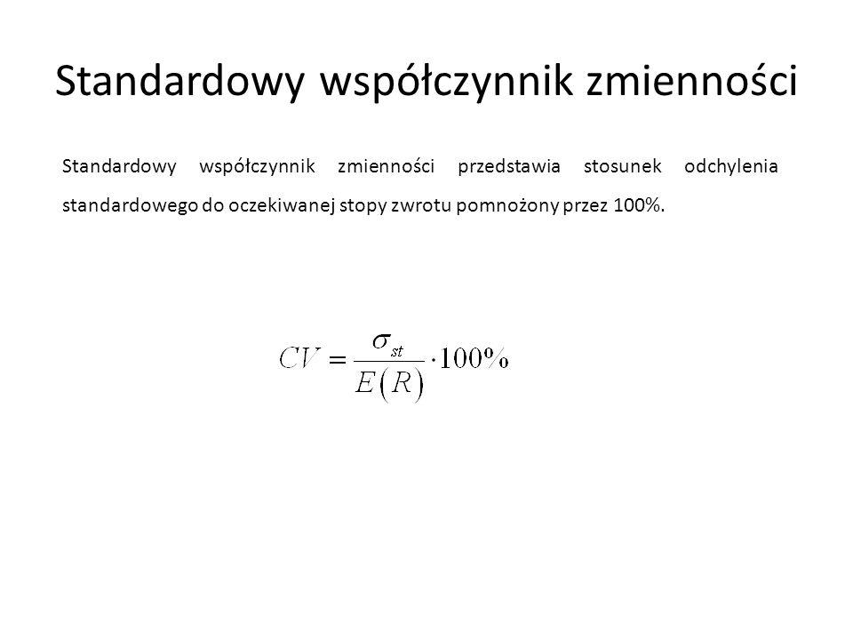 Standardowy współczynnik zmienności Standardowy współczynnik zmienności przedstawia stosunek odchylenia standardowego do oczekiwanej stopy zwrotu pomn