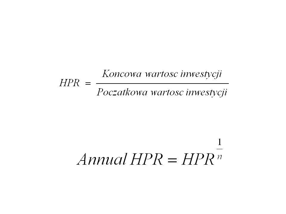 Stopa dochodu w okresie inwestycji (Holding Period Yield – HPY) HPY (Holding Period Yield) = HPR – 1