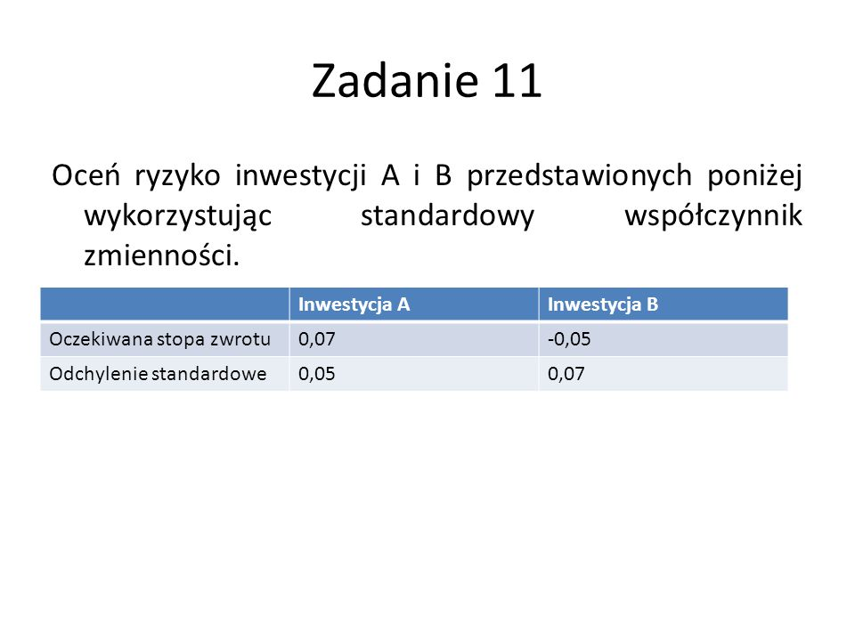 Zadanie 11 Oceń ryzyko inwestycji A i B przedstawionych poniżej wykorzystując standardowy współczynnik zmienności. Inwestycja AInwestycja B Oczekiwana