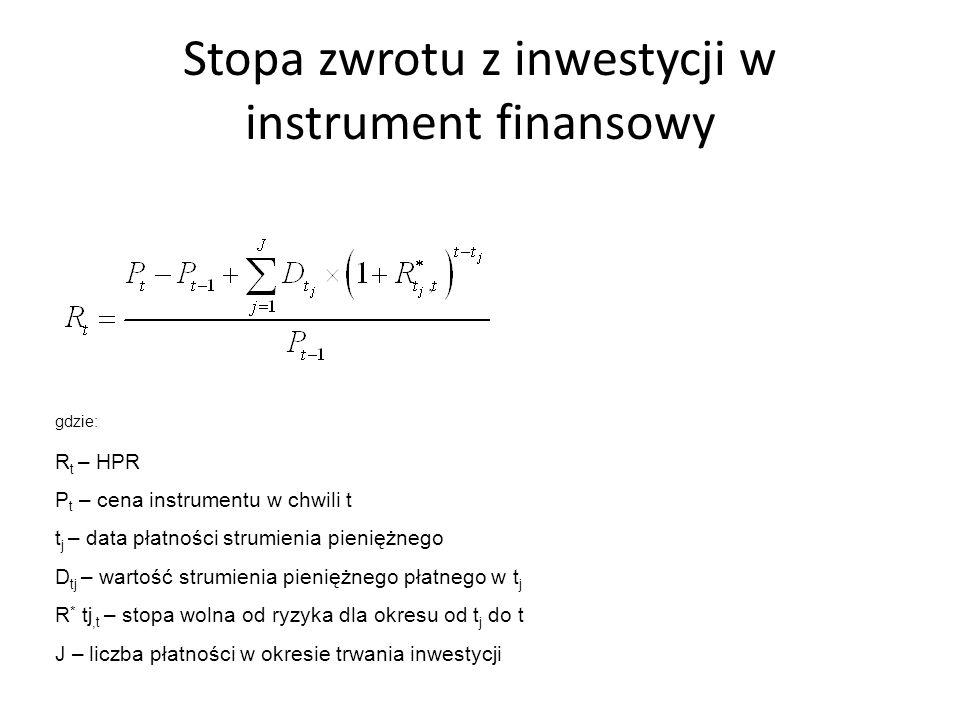 Stopa zwrotu z inwestycji w instrument finansowy gdzie: R t – HPR P t – cena instrumentu w chwili t t j – data płatności strumienia pieniężnego D tj – wartość strumienia pieniężnego płatnego w t j R * tj,t – stopa wolna od ryzyka dla okresu od t j do t J – liczba płatności w okresie trwania inwestycji